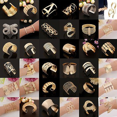 Gold Plated Bangle Bracelet Wristband Cuff Chain Friendship Jewelry Link Drill