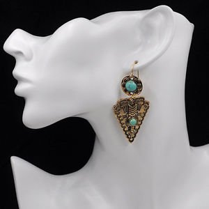 Fashion Women's Inlay Triangle Turquoise Floral Leaf Long Dangle Pendant Earring