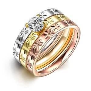 Women 18KGP 3In1 Titanium Stainless Steel Tri Color Trinity CZ Wedding Ring HOT