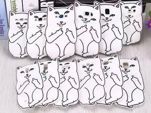 White RipNDip Lord Nermal Cat Case Skin For Samgung Galaxy Various Phone Cover