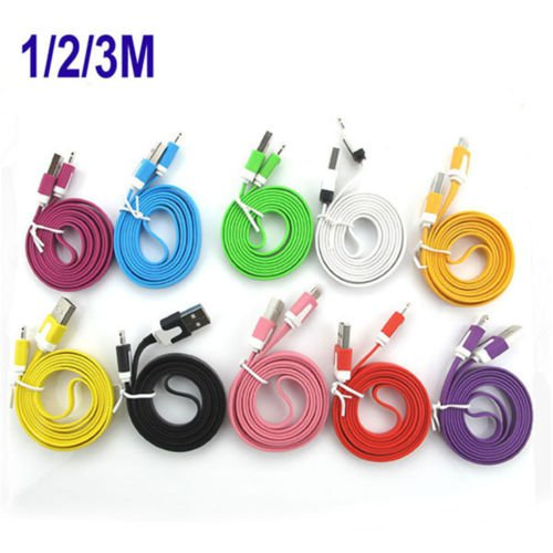 3/6/10 FT Micro USB Flat Noodle Charger Cable Cord For HTC Samsung  LG  Phone