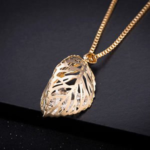Sweet Gold/Silver Family Double Leaf Cute Chain Crystal Necklace Charm Pendant