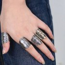 Bohemia Totems Pattern Women Rings Silver Plated Knuckle Fashion Band Midi Ring