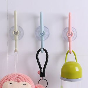 NEW DOUBLE ENDED KITCHEN BATHROOM TILE SNAP LEVER HOOK HANGER SUCTION SUCKER CUP