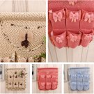 Hotsale Pratical Silk Wall Hanging Storage Bag Organizer 4 Pockets Hanging Bag