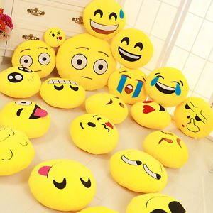 "Soft Emoji Emoticon Yellow Round Cartoon Pillow Toy Cute Face Pillow Cushion 13"""