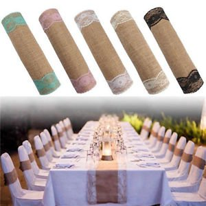 Personality Rustic Table Runner Party Craft Lace Linen Ribbon Roll Wedding Decor
