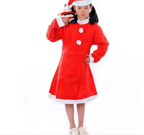 3-5 Years Girl Christmas Santa Claus Costume Party Fancy Dress W/ Hat Hot