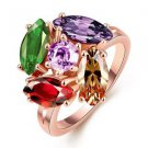 Women Hot Big Colorful Crystal Engagement Promise Rings Fashion Wedding Jewelry