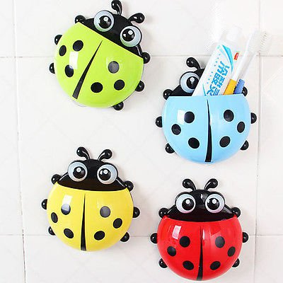 Creative Suction Cup Plastic Storage Holder with Tooth Tumblers Bathroom Tools