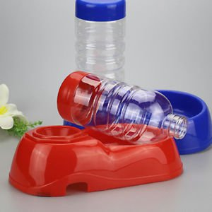 New Bowl+Bottle Automatic Food Supply Dishes Dual Water Drinking Feeder For Pet