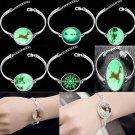 Charm Cuff Silver Bangle Lots Style Fashion Bracelet Jewelry Luminous pendant