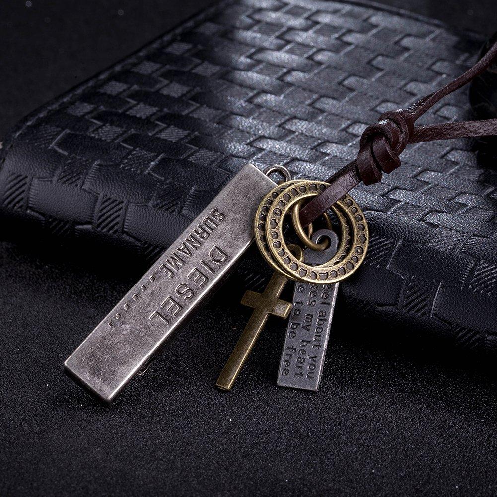 Classic Men's Bronze/Sliver Pendant Leather Rope Cross Key Bullet Chain Necklace