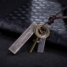 Classic Men's Bronze/Sliver Pendant Leather Rope Cross Key Bullet Chain Necklace