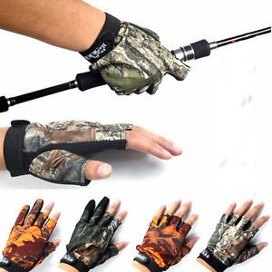 Hunting 3/5 Cut Finger Anti Slip Mitts Camo Camouflage Fishing Gloves Waterproof