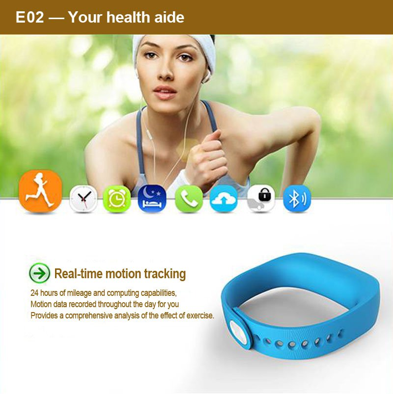 Fashion E02 Bluetooth Smart Sports Healthy Wearable Bracelet Watch Wrist