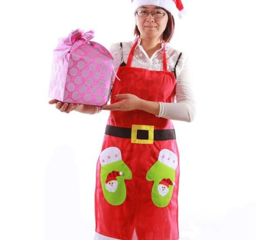 Christmas Decor Santa Holiday Costume Party Kitchen Bib Cooking Dress Apron Red