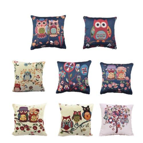 "Winter Gift Flowers Trees Cotton Linen Pillow Case Cartoon Cushion Cover 18""x18"""