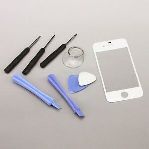 Replacement Front Screen Glass Lens Cover for iPhone 4S White + Tools Kit