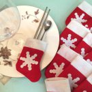 Christmas Xmas Decor Snowman Kitchen Tableware Holder Pocket Dinner Cutlery Bag
