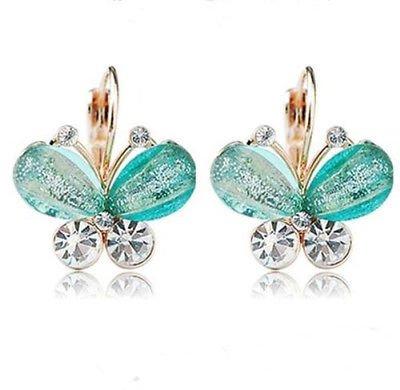 Fashion Gold Plated Blue Crystal Rhinestone Elegant Ear Stud Earrings Clip On