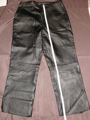 "DESIGNER LEATHER PANTS ""uniform"" by JOHN PAUL RICHARD WOMEN'S sz 10 worn once"