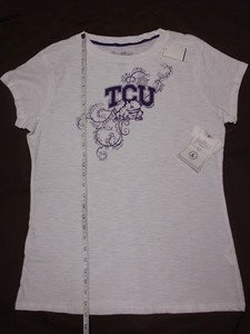TCU Licensed Collegiate Horned Frogs Women White T-Shirt Large, Short Sleeve NWT