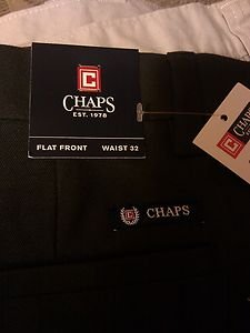 """CHAPS CLASSY MEN'S, 32"""" BLACK SHORTS FLAT FRONT MOISTURE-WICKING Tag $59"""