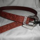 MEN'S JEANS BELT 44 INCH LONG M/L BROWN WITH A COOL METAL BUCKLE & PINTED END
