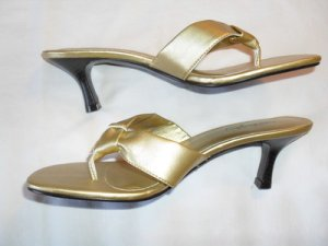 SEXY MEDELINE STUART OPEN THONG STRAPS STILETTO WOMEN'S SHOES GOLD 7.5M NEW!