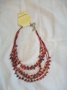 BOLD AVA & GRACE 5 STRING NECKLACE JEWELRY BEADED MULTI COLOR RED/BLACK NEW