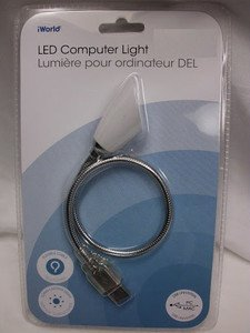 iWORLD Silver USB LED Flexible Metal Material Lamp Light For Laptop Notebook PC