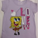 Cute NICKELODEON SPONGE BOB T-SHIRT L/PURPLE TODDLER SIZE GIRLS NWT