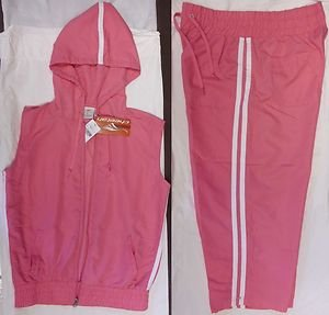 PINK Women's Cheetah Athletic Track Suit & Hood Sleeveles Jacket Both Size-M NWT
