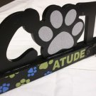 GIFT CAT LOVER'S UNIQUE DECORATIVE CATTITUDE WOODEN PLAQUE BLACK w/GLITTER NEW
