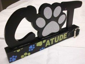 GIFT CAT LOVER'S UNIQUE DECORATIVE CATTITUDE WOODEN PLAQUE BLACK w/GLITTER NEW
