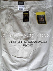 "MEN'S CLIPPER COTTON DRESS SHORTS size 54"" WAIST, KHAKI, w/SIDE ELASTIC NWT"