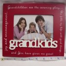 "GRAND KIDS BRAG WOODEN 6""x 4"" PHOTO FRAME RED/WHITE TABLE TOP OR HANG NEW"