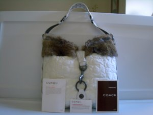 EW COACH RABBIT FUR LARGE DUFFLE WHITE VERY HARD TO FIND