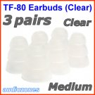 Medium Replacement Triple Flange Ear Buds Tips Cushions for Shure In-Ear Earphones Headphones @Clear