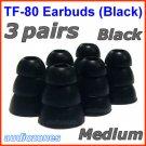 Medium Replacement Triple Flange Ear Buds Tips Cushions for Shure In-Ear Earphones Headphones @Black