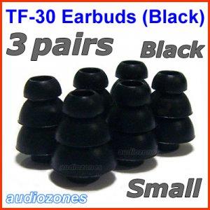 Small Triple Flange Ear Buds Tips Pads for Ultimate Ears UE In Ear Earphones TripleFi 10 10vi @Black