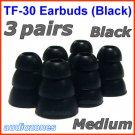 Medium Replacement Triple Flange Ear Buds Tips Cushion for V-MODA In-Ear Earphones Headphones @Black
