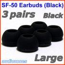 Large Ear Buds Tips Cushions Pads for Sennheiser MM 50 iP iPhone MM 200 30i 70i 80i Travel @Black