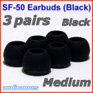 Medium Ear Buds Tips Cushions Pads for Sennheiser MM 50 iP iPhone MM 200 30i 70i 80i Travel @Black