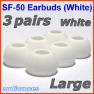 Large Ear Buds Tips Cushions Pads for Sennheiser MM 50 iP iPhone MM 200 30i 70i 80i Travel @White