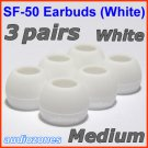 Medium Ear Buds Tips Cushions Pads for Sennheiser MM 50 iP iPhone MM 200 30i 70i 80i Travel @White