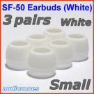 Small Ear Buds Tips Cushions Pads for Sennheiser MM 50 iP iPhone MM 200 30i 70i 80i Travel @White