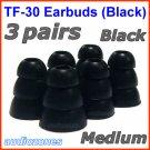 Medium Triple Flange Ear Buds Tips Pad Cushion for Audio-Technica In-Ear Earphones Headphones @Black
