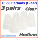 Medium Triple Flange Ear Buds Tips Pads Cushions for JLab JBuds In-Ear Earphones Headphones @Clear
